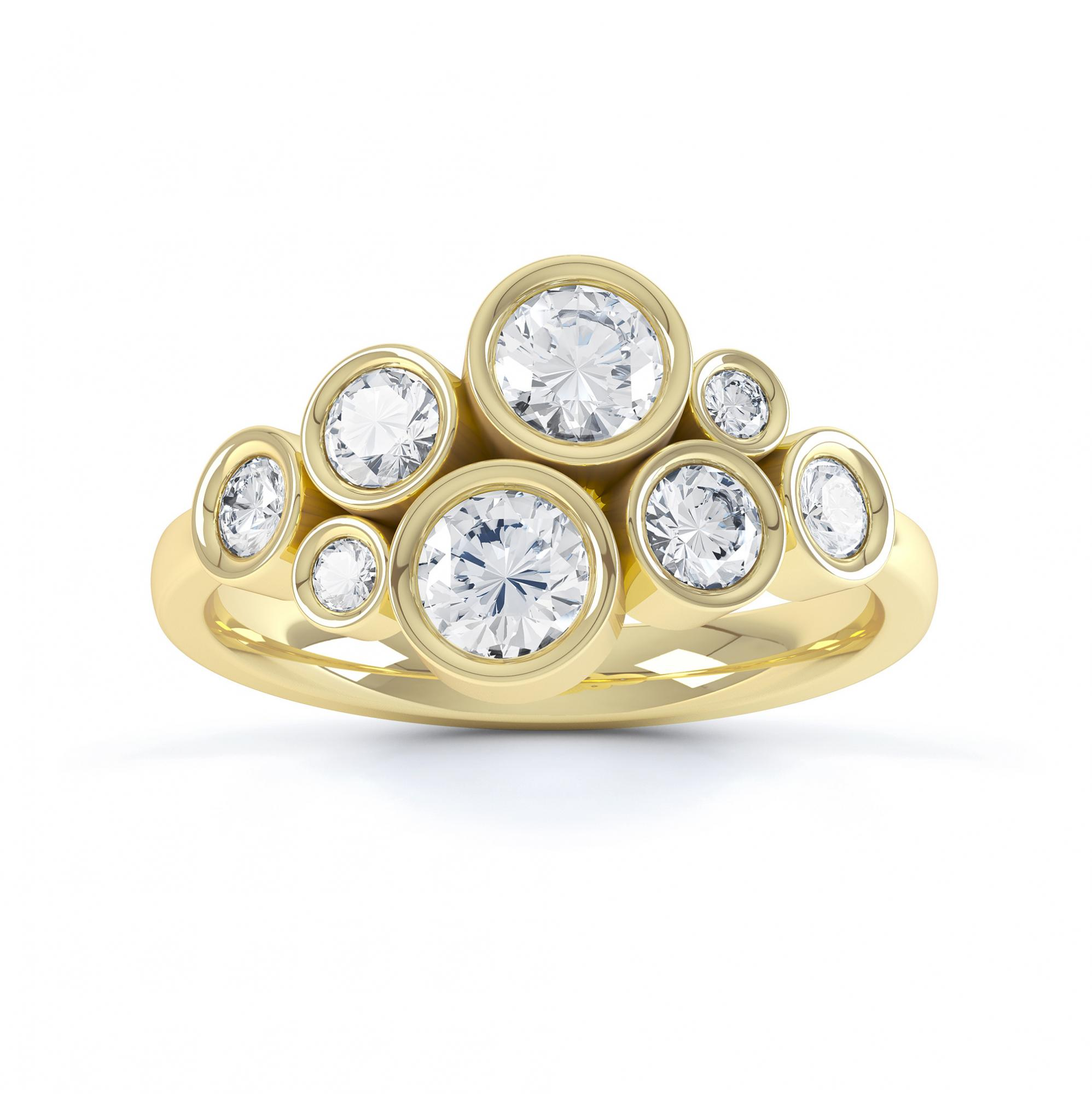 Diamond bubble ring top view yellow gold