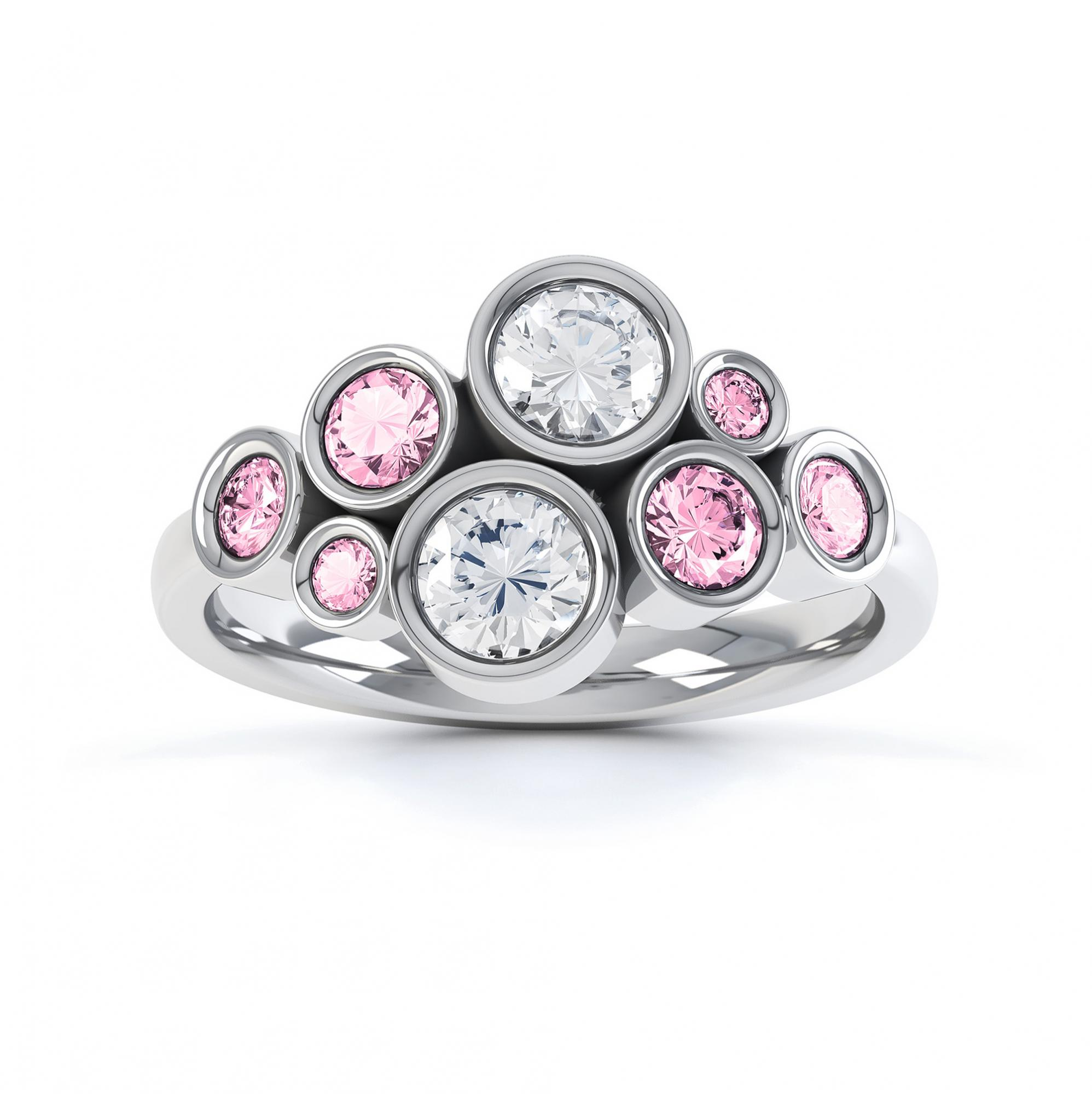 Pink sapphire and diamond bubble ring white gold top view