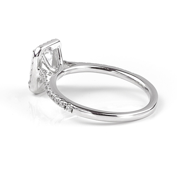 Kiera emerald cut diamond halo engagement ring white gold side view