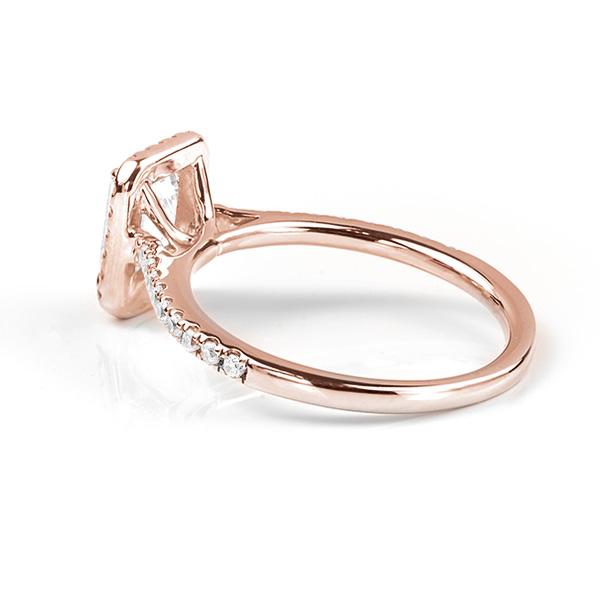 Kiera emerald cut diamond halo engagement ring rose gold side view