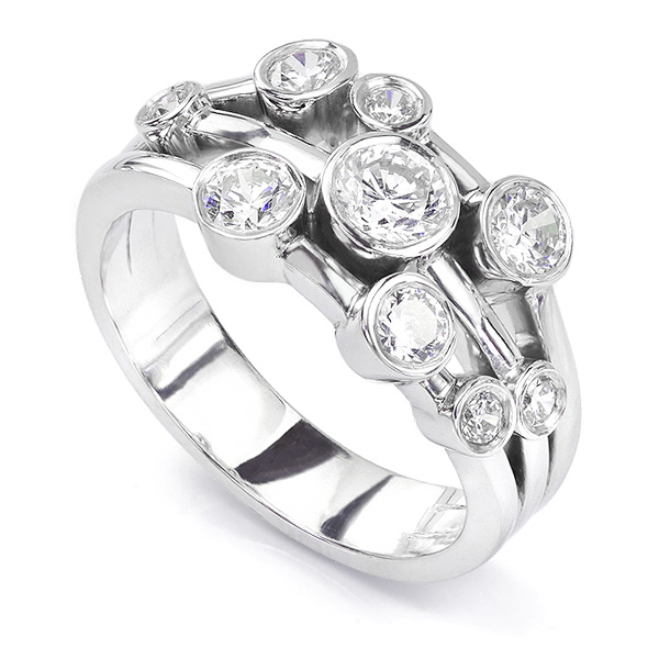 1 carat diamond bubble, raindance inspired ring in Platinum