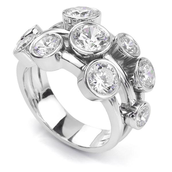 Carnegie 3 Carat Diamond Bubble Ring in Platinum