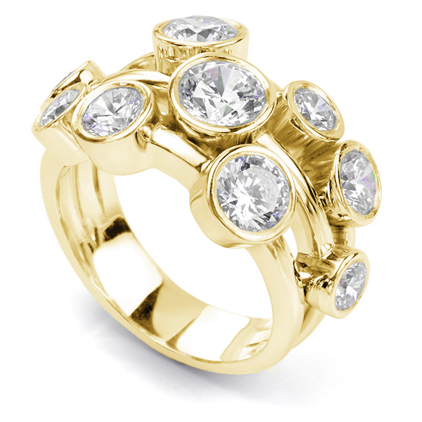 Carnegie 3 Carat Diamond Bubble Ring in Yellow Gold