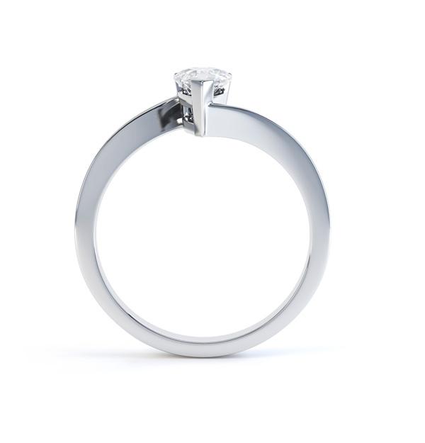 Pear shaped Diamond Engagement ring Twist, Side