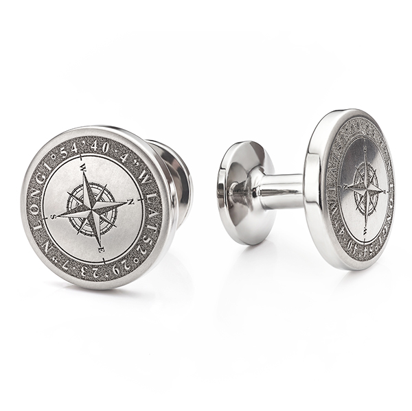 Compass engraved cufflinks in Titanium