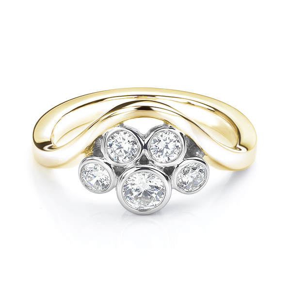 Five stone diamond bubble ring in yellow gold side view