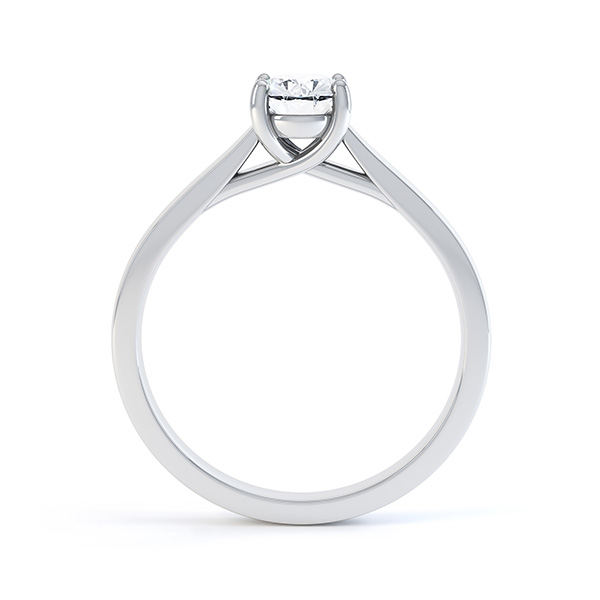 Modern Classic 4 Claw Oval Solitaire Engagement Ring Side View