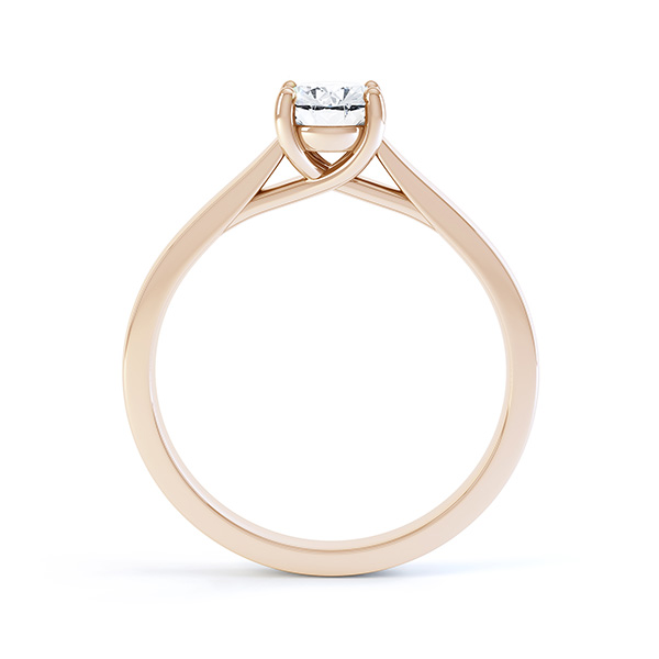 Modern Classic 4 Claw Oval Solitaire Engagement Ring Side View In Rose Gold
