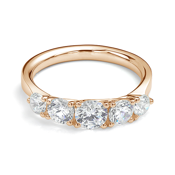 5 Stone Diamond Trellis Ring Front View Yellow Gold5 Stone Diamond Trellis Ring Front View Rose Gold