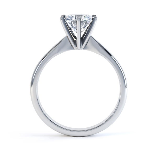 Six Claw Diamond Solitaire Engagement Ring - Side