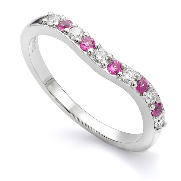 Pink sapphire and diamond shaped wedding ring