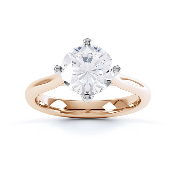 Rose Gold side view of the Naomi 4 claw solitaire engagement ring