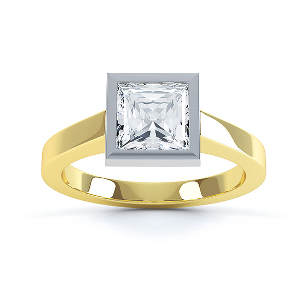 Moderne Princess cut solitaire diamond engagement ring top view yellow gold