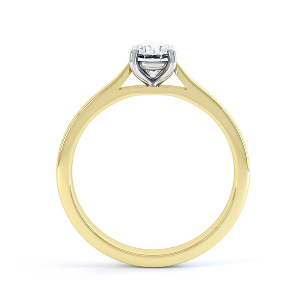 4 Claw Oval Engagement Ring in Yellow Gold Side View