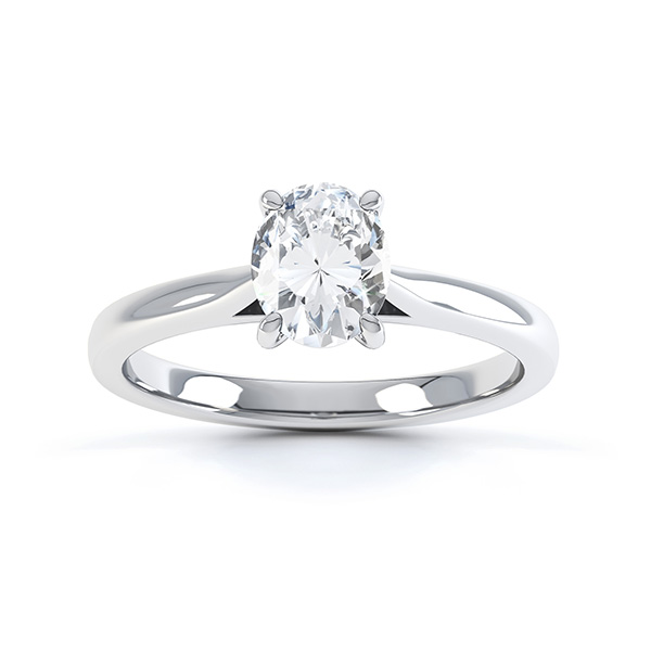 4 Claw Oval Engagement Ring in White Gold Top View