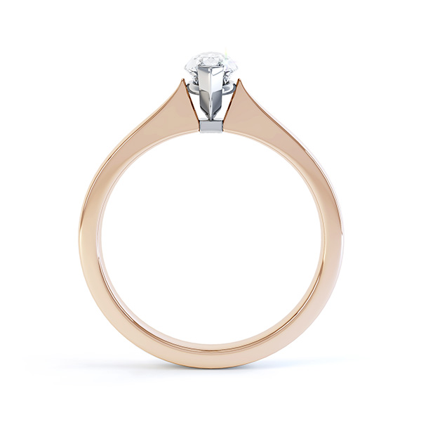 Simple Marquise Solitaire Engagement Ring SIde View Rose Gold