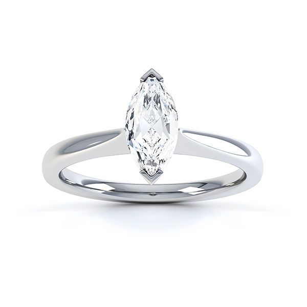Simple Marquise Solitaire Engagement Ring Top View White Gold