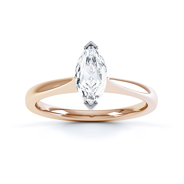 Simple Marquise Solitaire Engagement Ring Top View Rose Gold