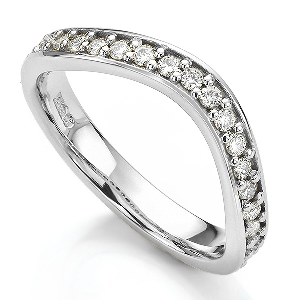Gently curved shaped wedding ring white gold grain set with diamonds