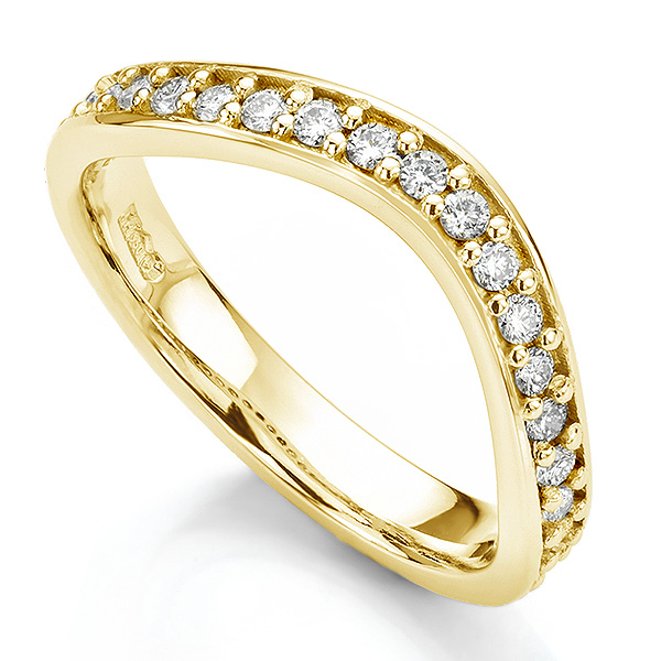Gently curved shaped wedding ring yellow gold grain set with diamonds