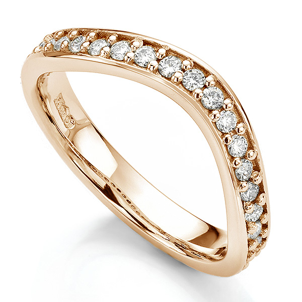 Gently curved shaped wedding ring rose gold grain set with diamonds