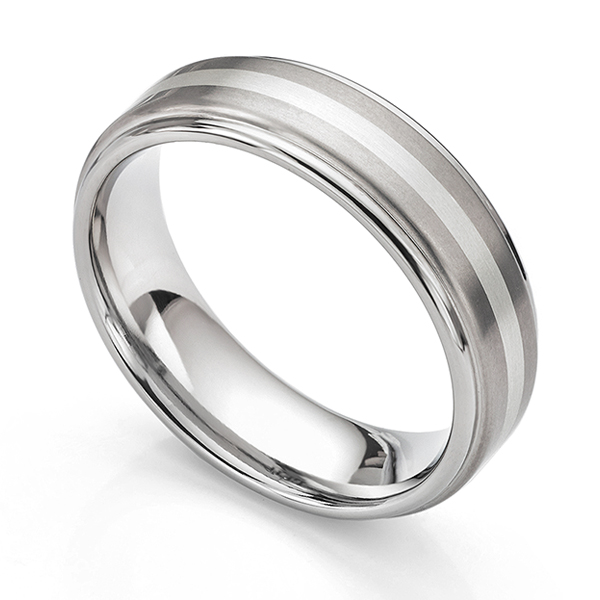 Inlaid titanium and white gold mens wedding ring