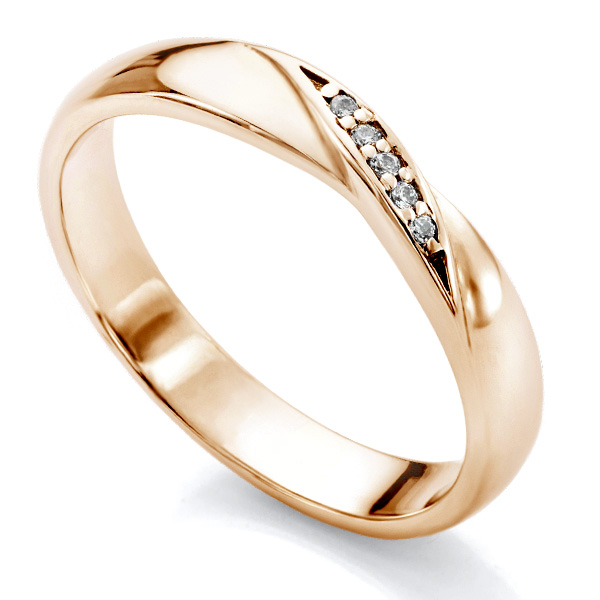 Ribbon twist wedding ring with diamonds in Rose Gold