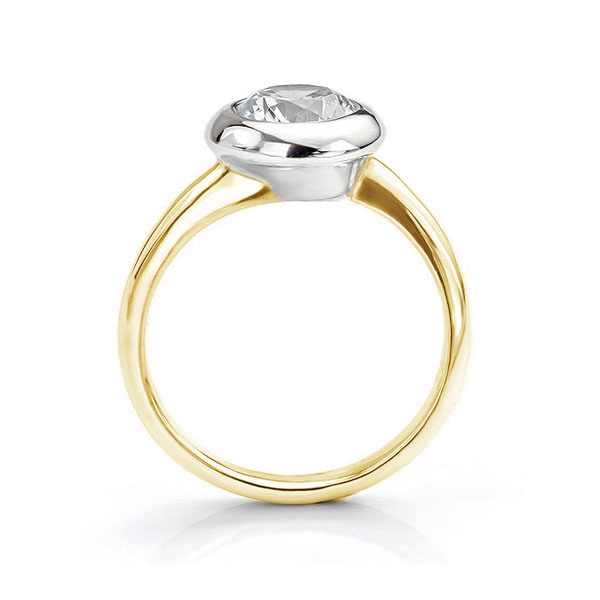 Domed solitaire diamond engagement ring side view yellow gold