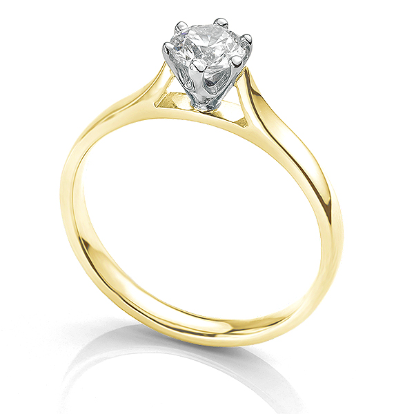 Side view of the Ballerina solitaire engagement ring 0.50cts in Yellow Gold