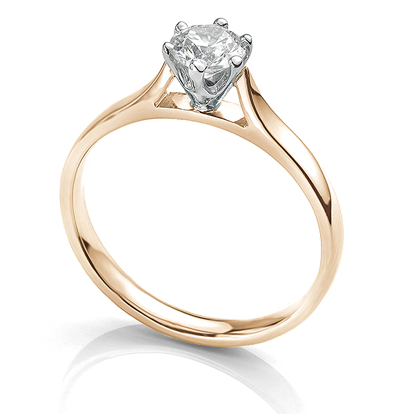 Side view of the Ballerina solitaire engagement ring 0.50cts in Rose Gold