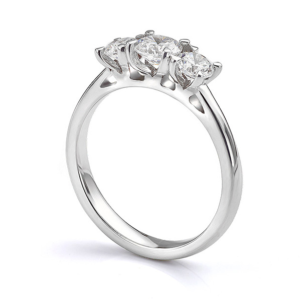 Ciel three stone diamond engagement ring side view in Platinum