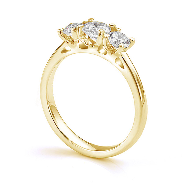 Ciel three stone diamond engagement ring side view in Yellow Gold