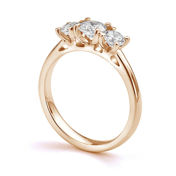 Ciel three stone diamond engagement ring side view in Rose Gold
