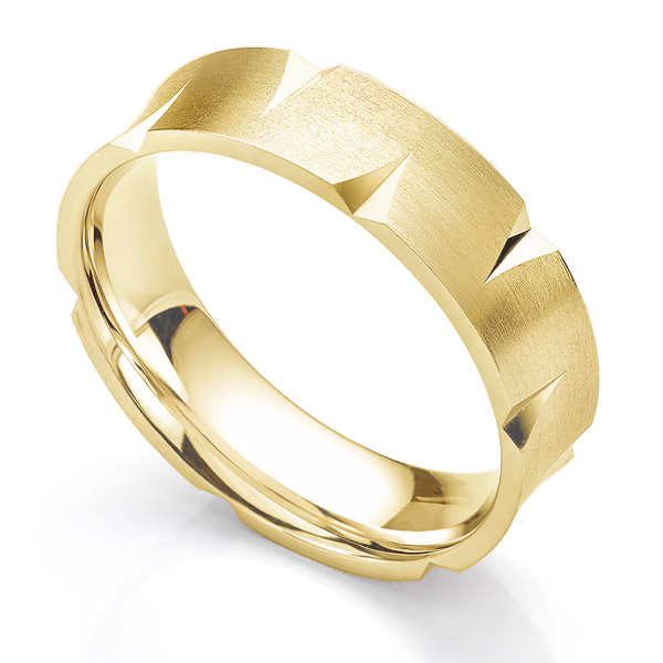 Concave patterned wedding ring 6mm yellow gold