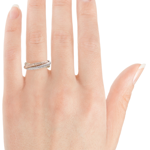 Pave russian wedding ring on finger