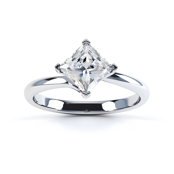 Princess Twist Engagement Ring White Gold Top View