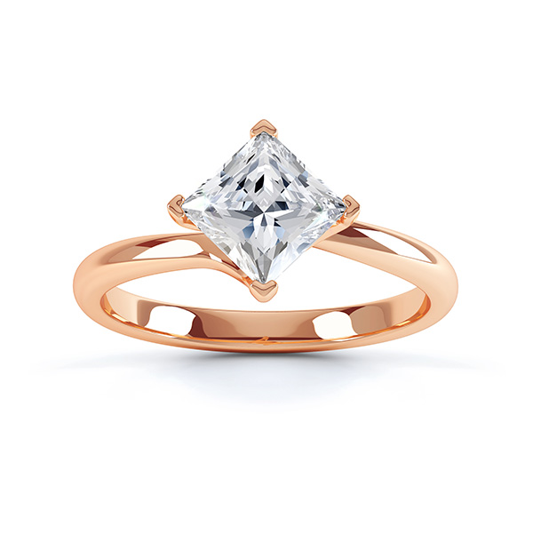 Princess Twist Engagement Ring Rose Gold Top View