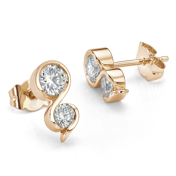 Two stone diamond swirl earrings in 18ct Rose Gold