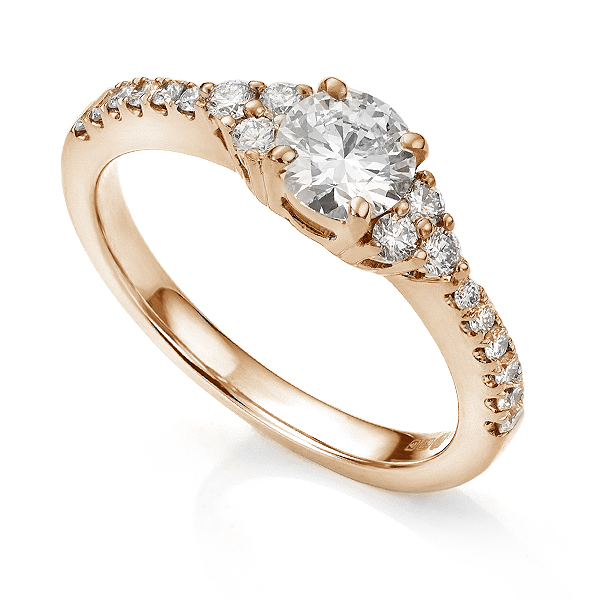 Christie diamond shoulder engagement ring in Rose Gold