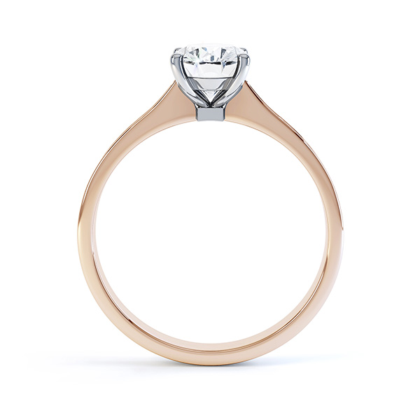 Side view of the Faith oval diamond shoulder engagement ring rose gold