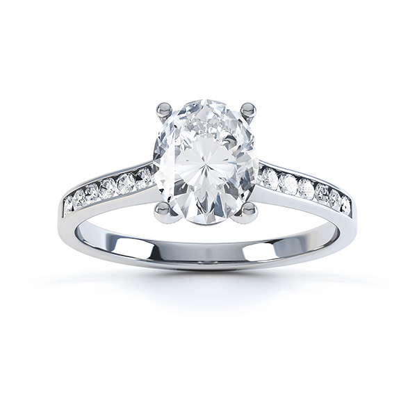 Top view of the faith oval solitaire engagement ring in Platinum