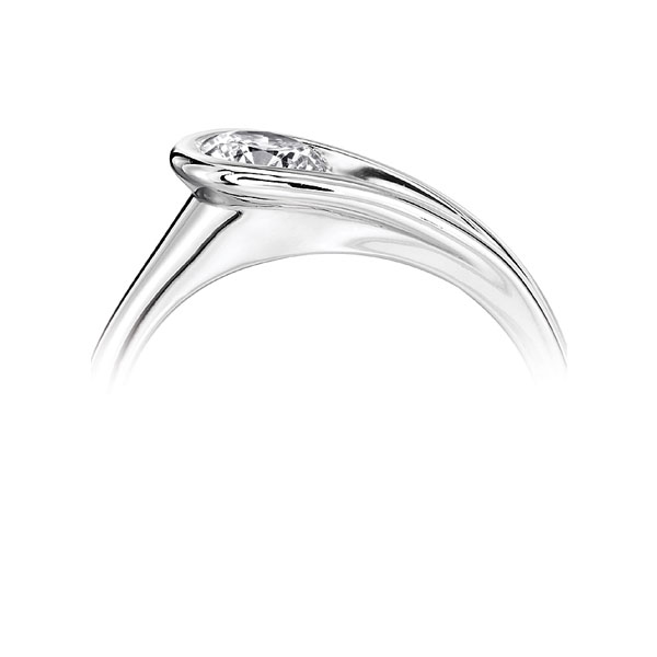 Loop Bezel Round Solitaire Engagement Ring - White Side