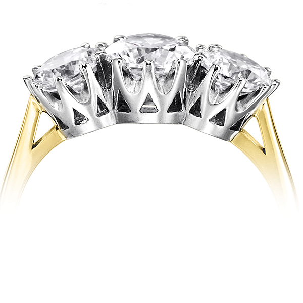 Classic 3 Stone Claw Set Diamond Ring Side View In Yellow Gold