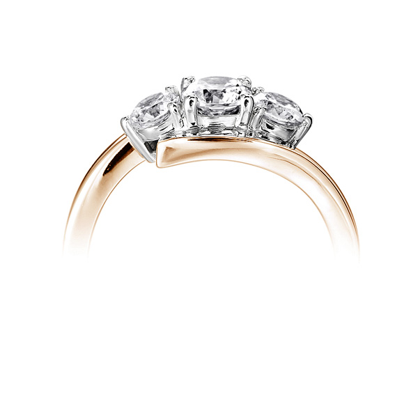 Modern 3 Stone Diamond Trilogy Style Ring Side View Rose Gold