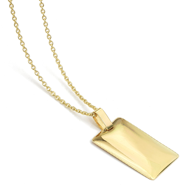 Engravable 9ct gold pendant lying down view