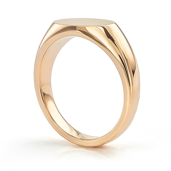 Rose gold main view of the ladies engravable signet ring