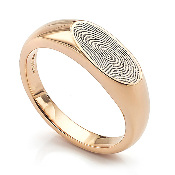 Fingerprint signet ring option shown here in 18ct Rose Gold