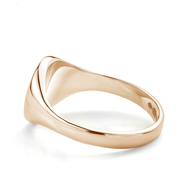 Small round signet ring side view rose gold