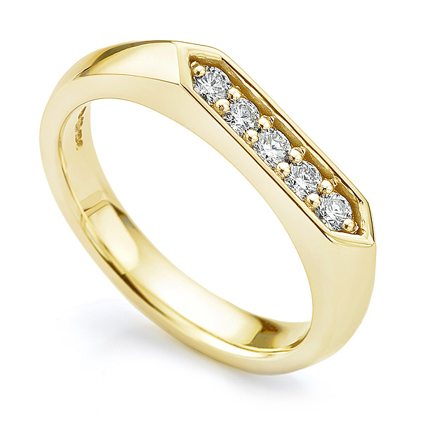 Ladies Yellow Gold Diamond Signet Ring