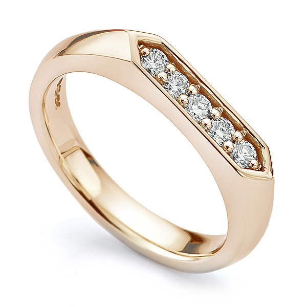 Ladies Rose Gold Diamond Signet Ring